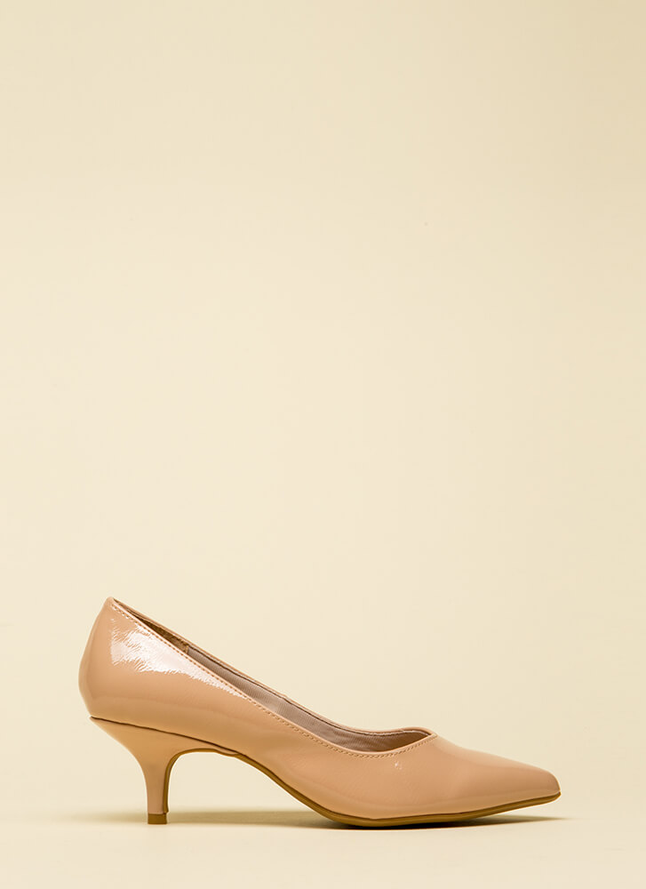Enchanted Faux Patent Kitten Heels NUDE