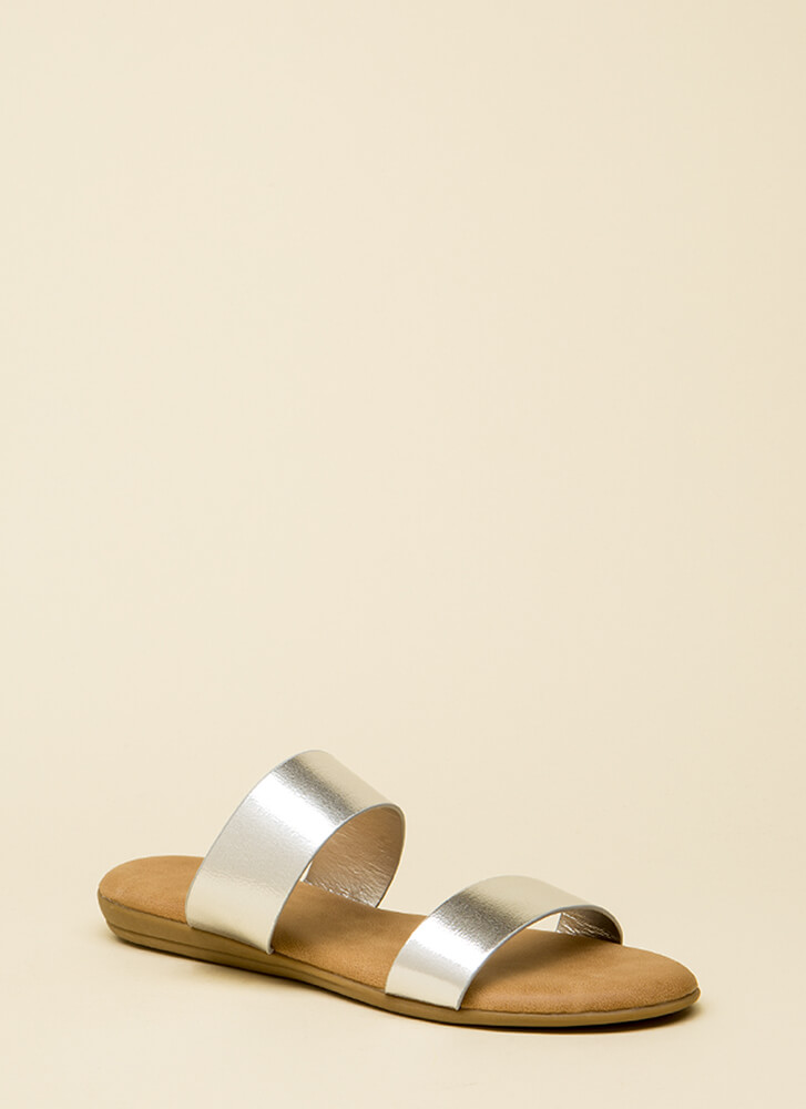 Beach Bound Metallic Slide Sandals SILVER