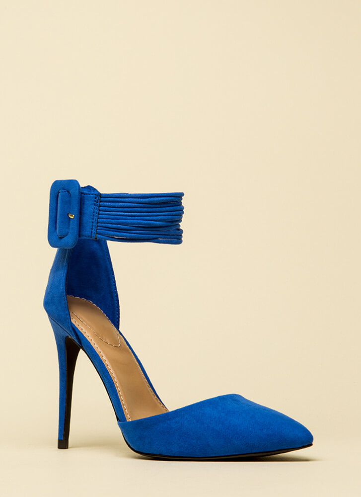 Cord Values Strappy Pointy Heels BLUE