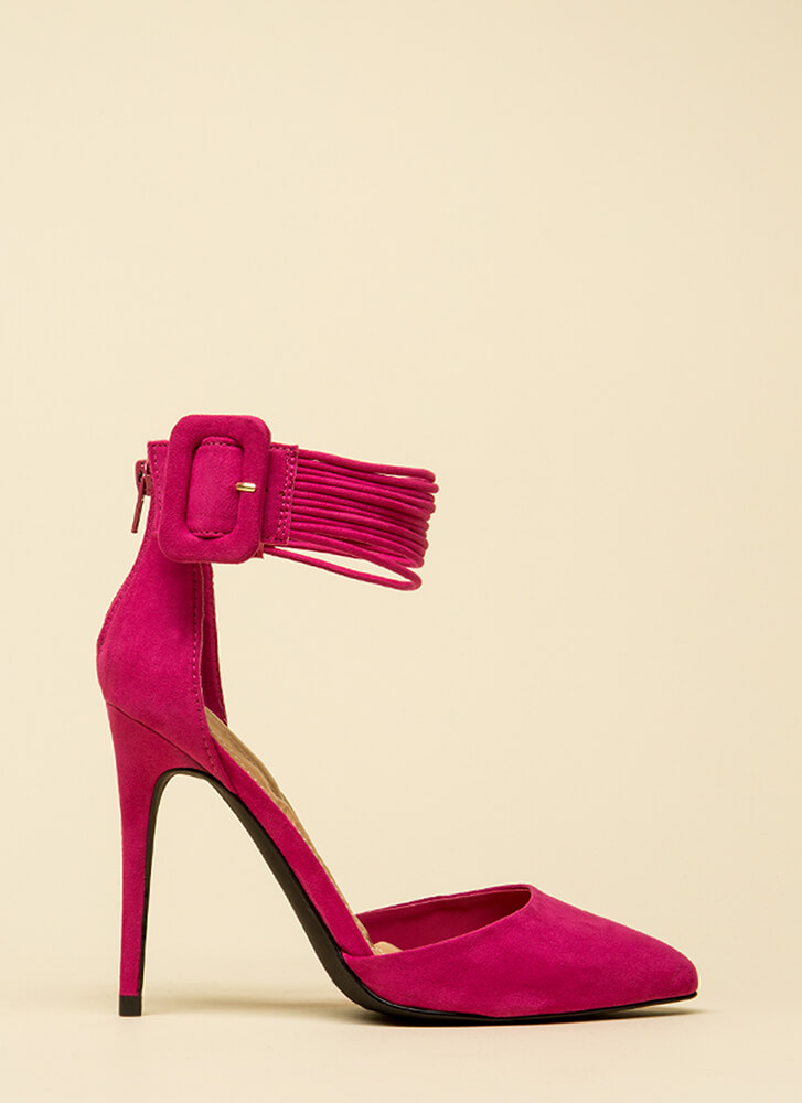 Cord Values Strappy Pointy Heels FUCHSIA (Final Sale)