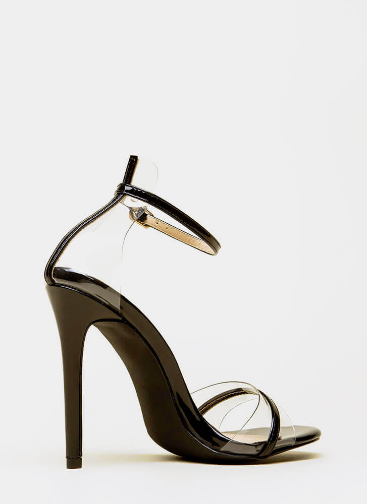 Clearly Exquisite Skinny Strap Heels BLACK (You Saved $20)