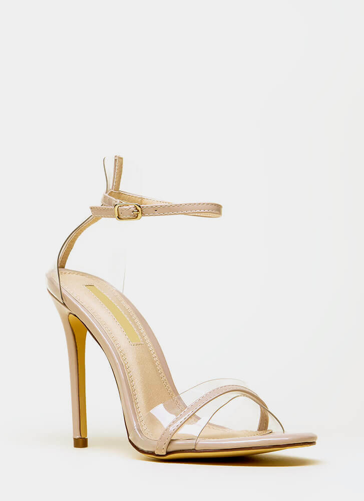 Clearly Exquisite Skinny Strap Heels NUDE (You Saved $20)