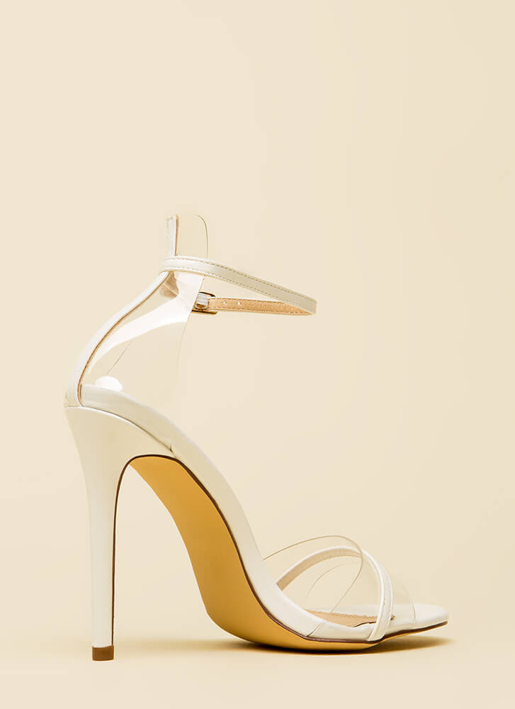 Clearly Exquisite Skinny Strap Heels WHITE (You Saved $20)