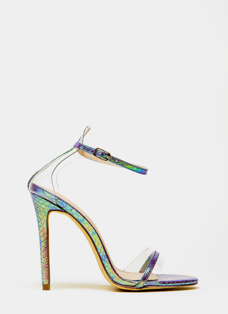 Clearly Exquisite Strappy Scaled Heels PURPLE