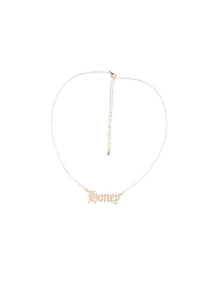 Honey Honey Plate Charm Necklace GOLD (You Saved $6)