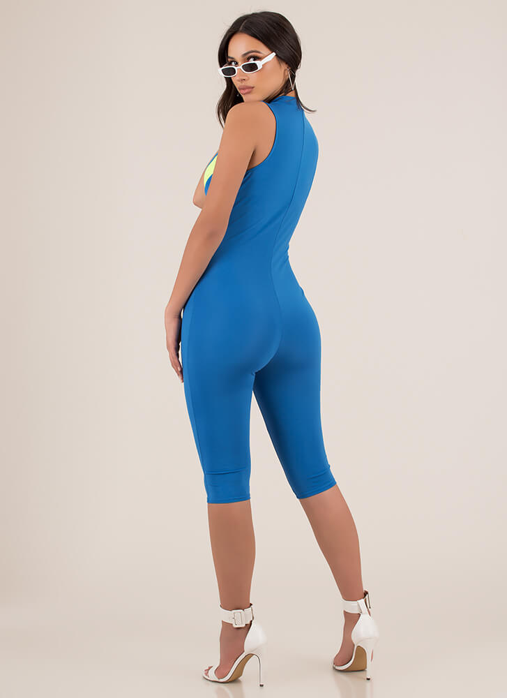 For Sport Chevron Striped Jumpsuit AQUA