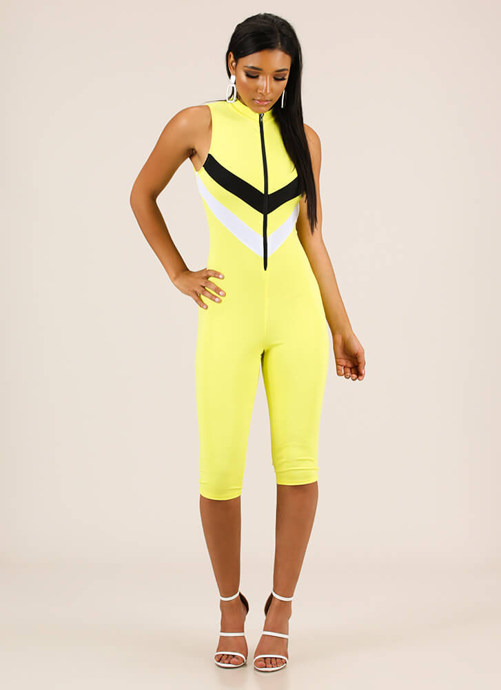 For Sport Chevron Striped Jumpsuit YELLOW