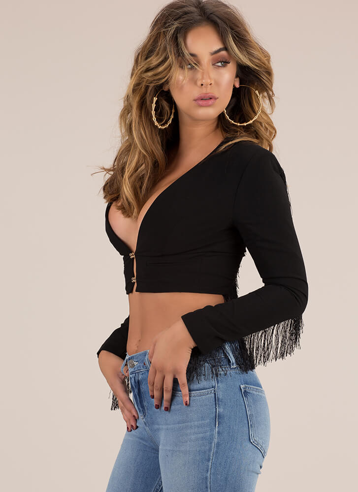 Country Superstar Fringed Crop Top BLACK