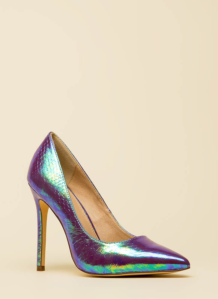 Holographic Figure Pointy Scaled Pumps PURPLE