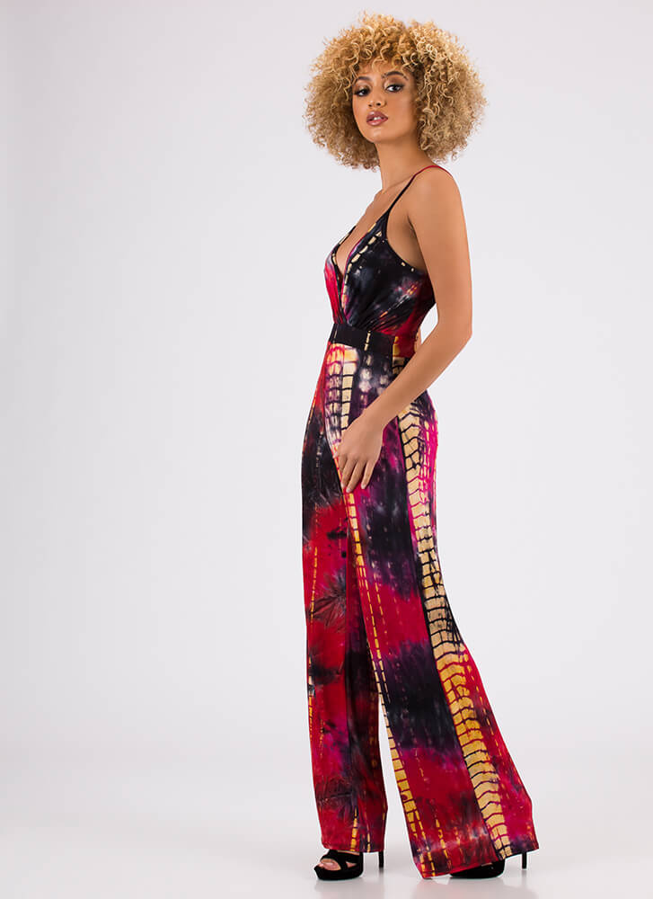 The Tie-Dye Is Cast Palazzo Jumpsuit RED