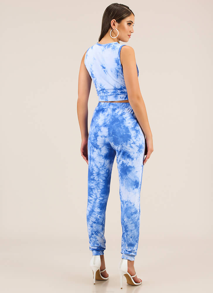 Sky's The Limit Tie-Dye Top And Pant Set BLUE