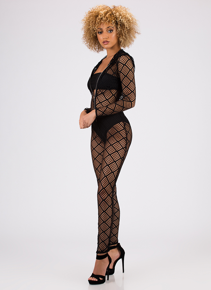 Caught In My Net Hooded Jumpsuit BLACK