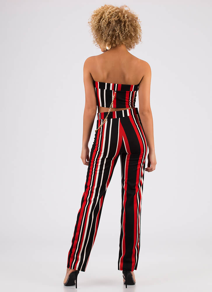 Chaining Day Striped Top And Pant Set RED