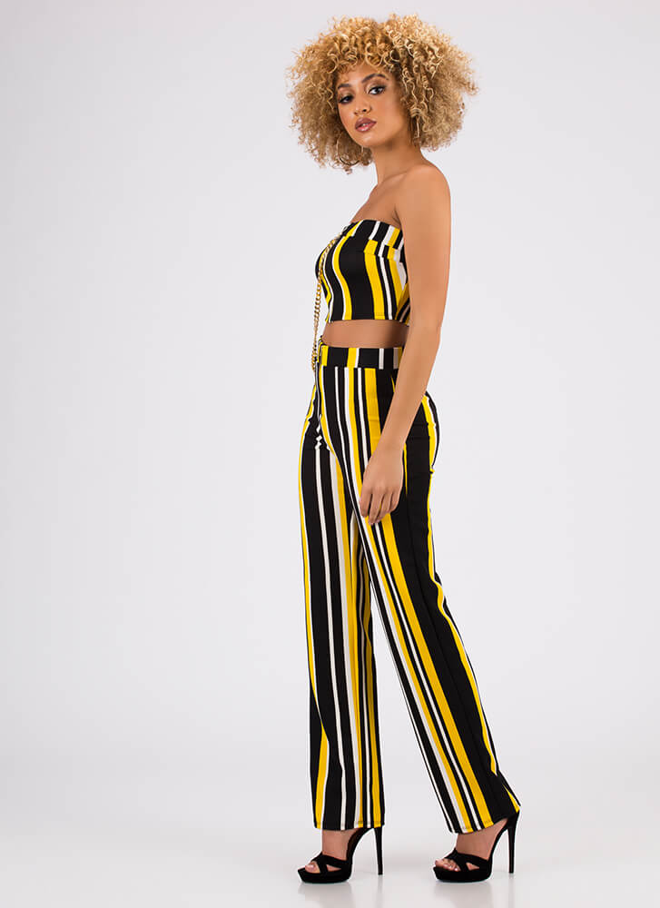 Chaining Day Striped Top And Pant Set YELLOW