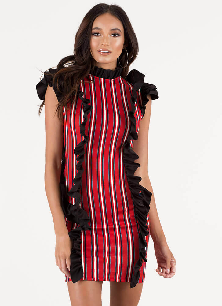 Put On A Show Ruffled Striped Minidress RED