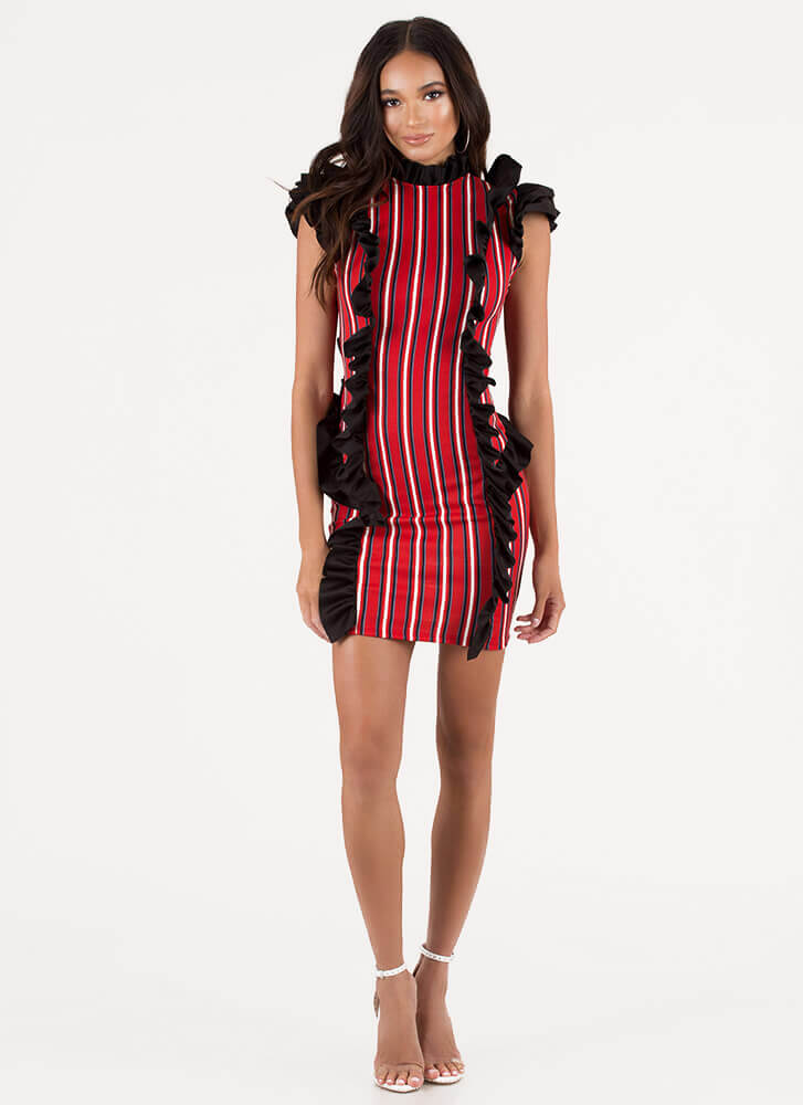 Put On A Show Ruffled Striped Minidress RED (You Saved $24)