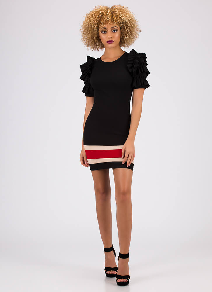 Drama Class Ruffled Striped Minidress BLACK