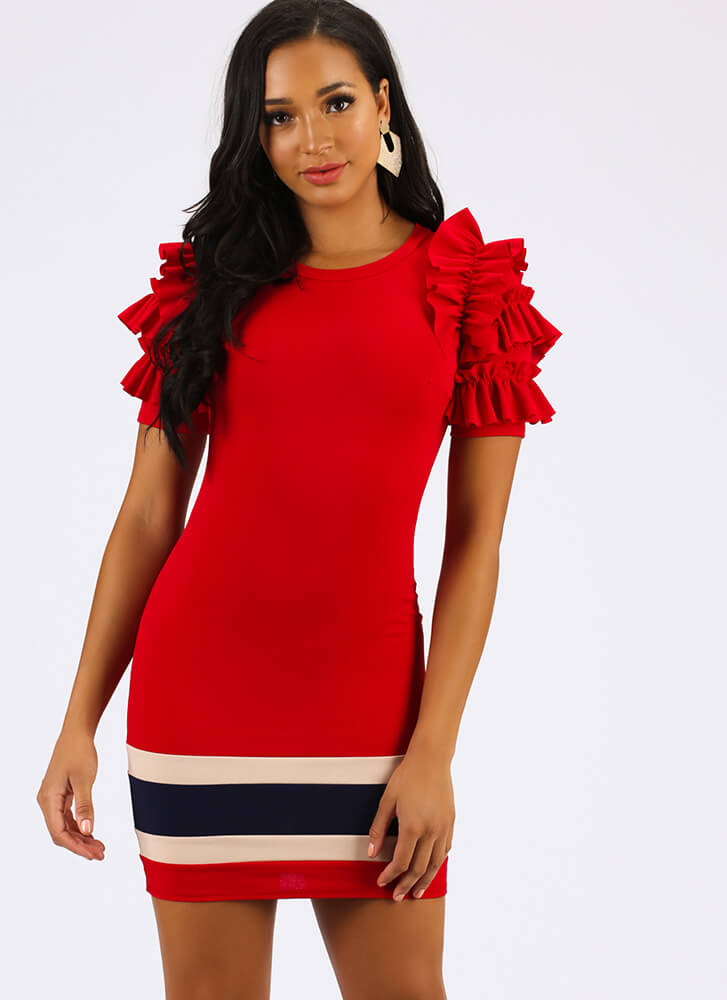 Drama Class Ruffled Striped Minidress RED