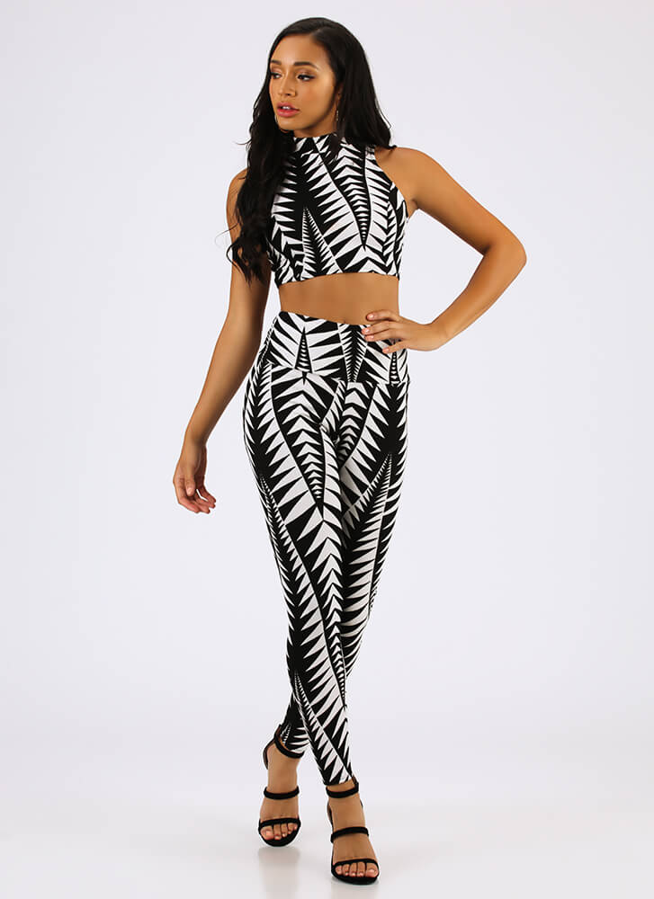 Leaf Through Top And Legging Set BLACKWHITE