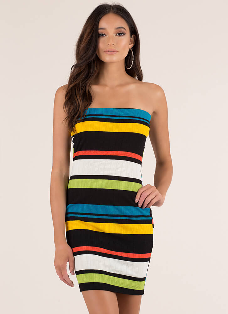 Colorful Personality Striped Tube Dress YELLOW (Final Sale)