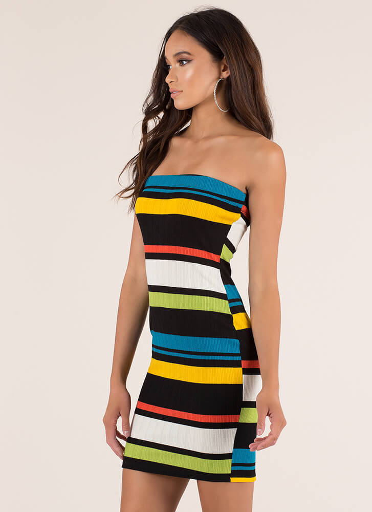 Colorful Personality Striped Tube Dress YELLOW