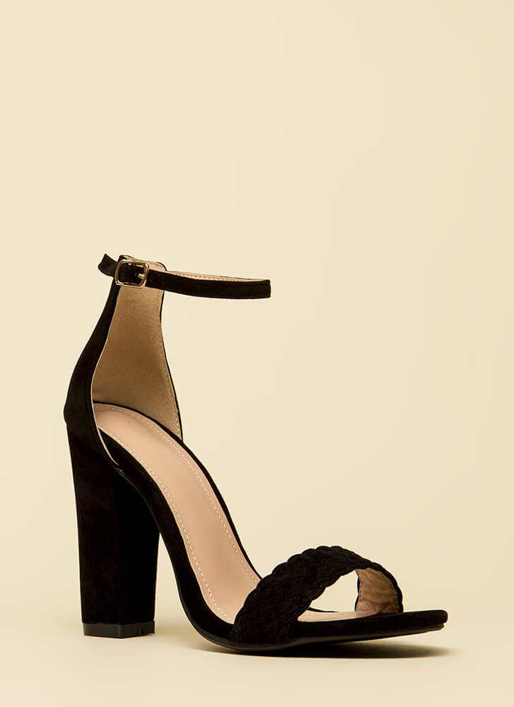Weave Me Be Chunky Ankle Strap Heels BLACK