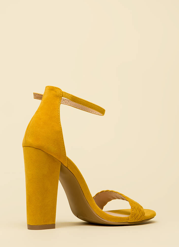 Weave Me Be Chunky Ankle Strap Heels YELLOW