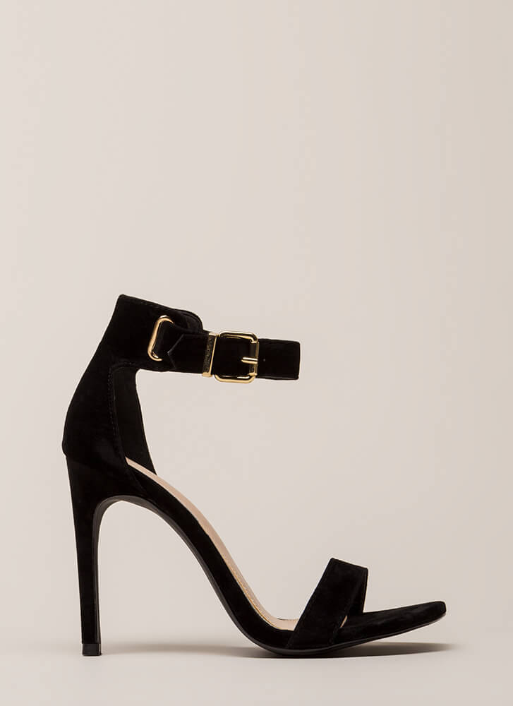 Day In And Day Out Ankle Strap Heels BLACK