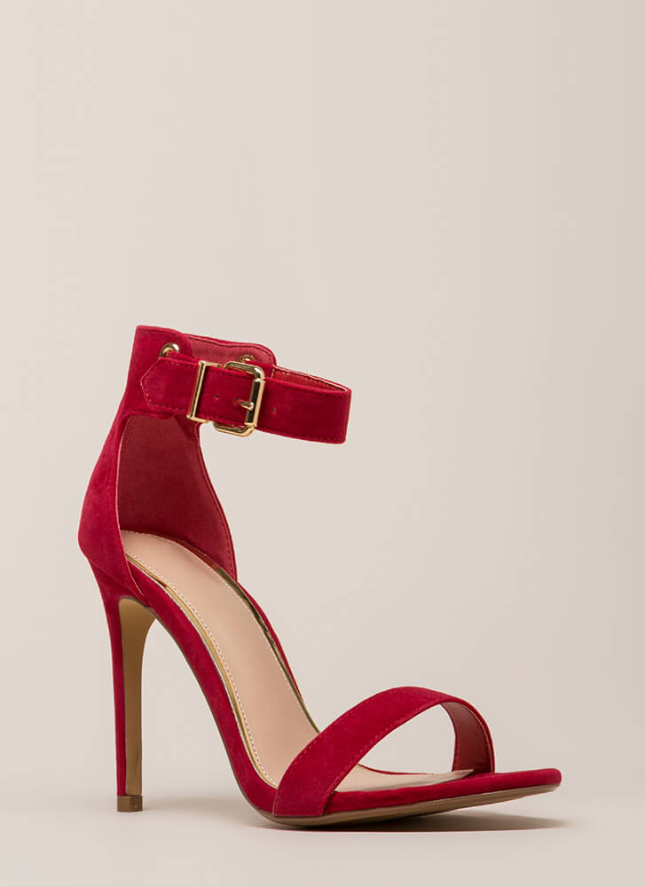 Day In And Day Out Ankle Strap Heels RED