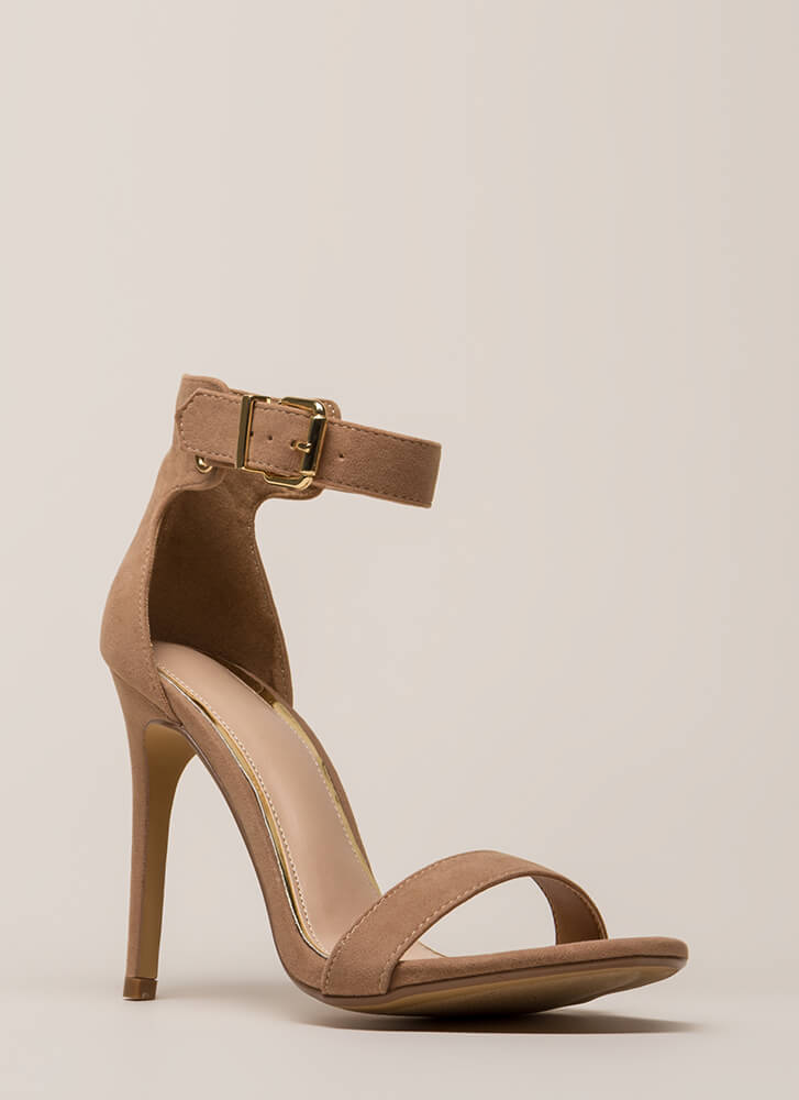 Day In And Day Out Ankle Strap Heels TAUPE