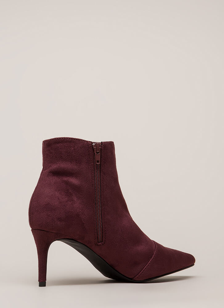 Short And To The Point Booties BURGUNDY