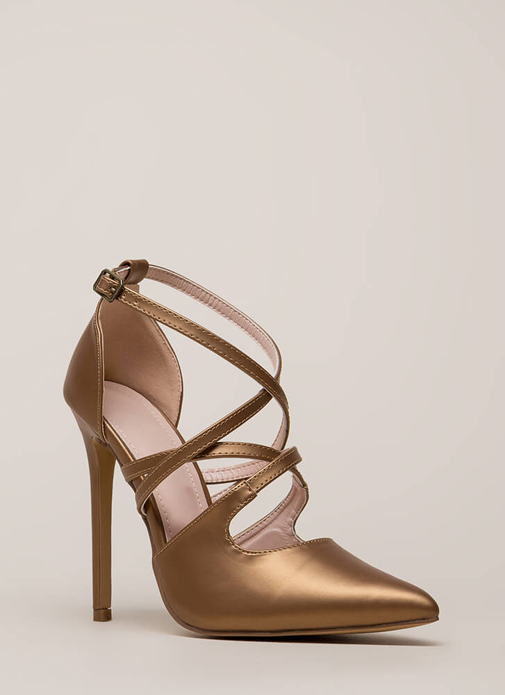 Apple Of My Eye Strappy Pointy Heels BRONZE
