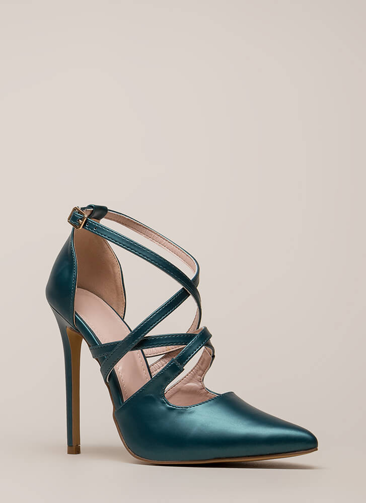 Apple Of My Eye Strappy Pointy Heels OLIVE