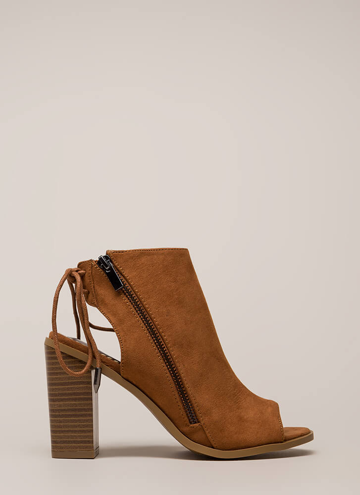 Great Adventure Chunky Lace-Back Booties CHESTNUT
