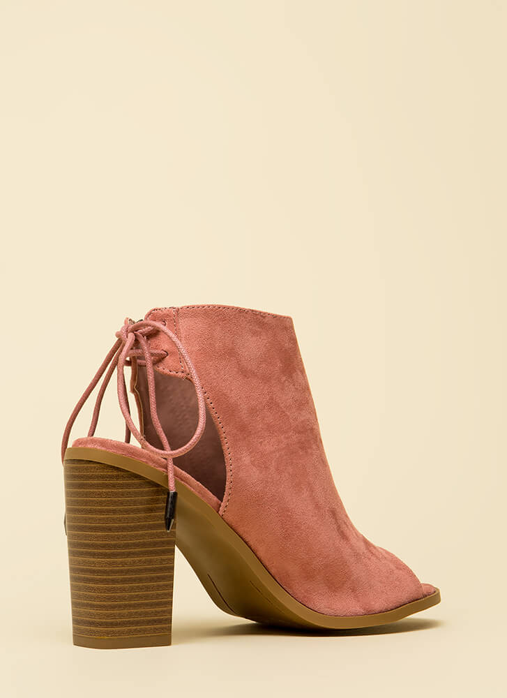 Great Adventure Chunky Lace-Back Booties MAUVE