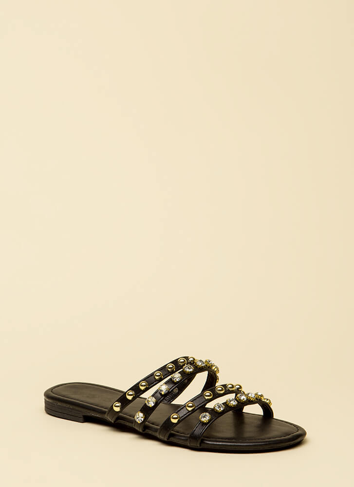 Treasure Hunt Strappy Jeweled Sandals BLACK
