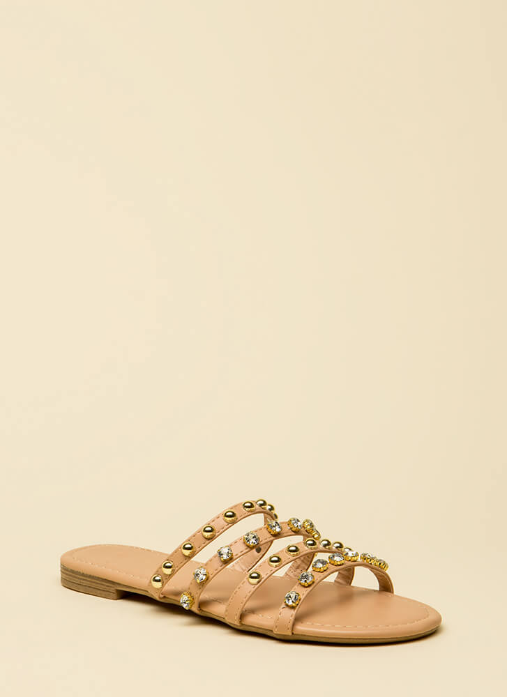 Treasure Hunt Strappy Jeweled Sandals NUDE
