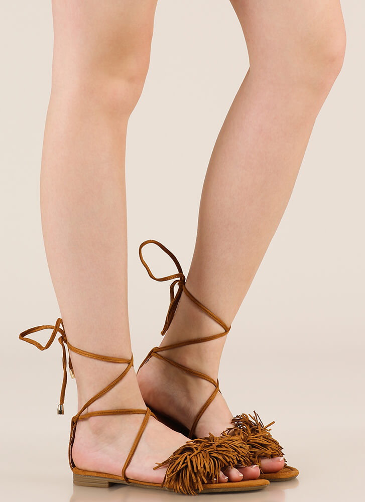 Shaggy Chic Lace-Up Fringe Sandals TAN
