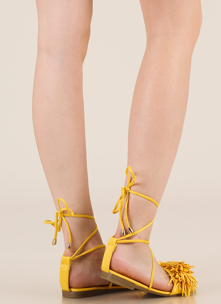 Shaggy Chic Lace-Up Fringe Sandals YELLOW