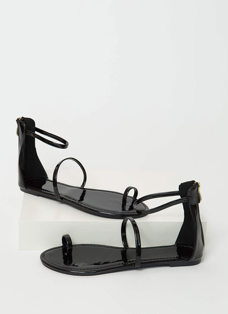 Simple Math Triple Strap Sandals BLACK