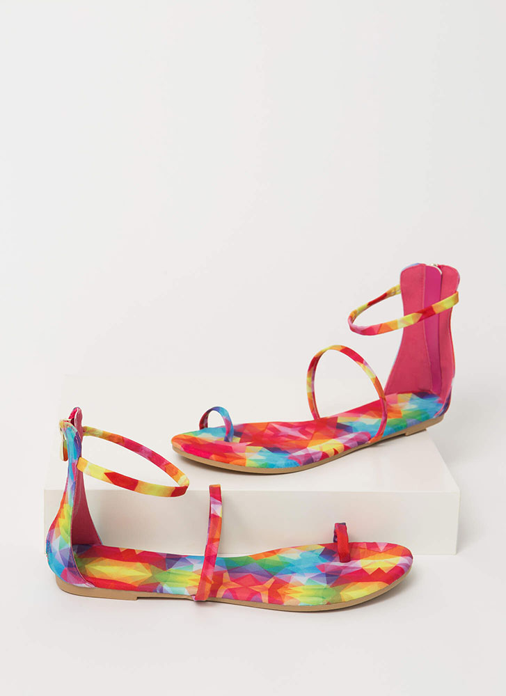 Simple Math Triple Strap Sandals MULTI