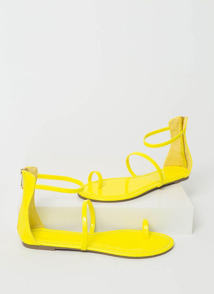 Simple Math Triple Strap Sandals YELLOW
