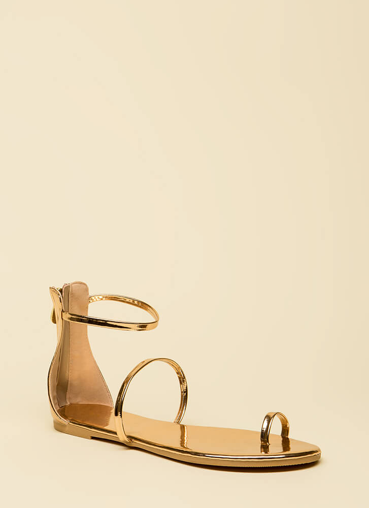 Simple Math Shiny Triple Strap Sandals ROSEGOLD