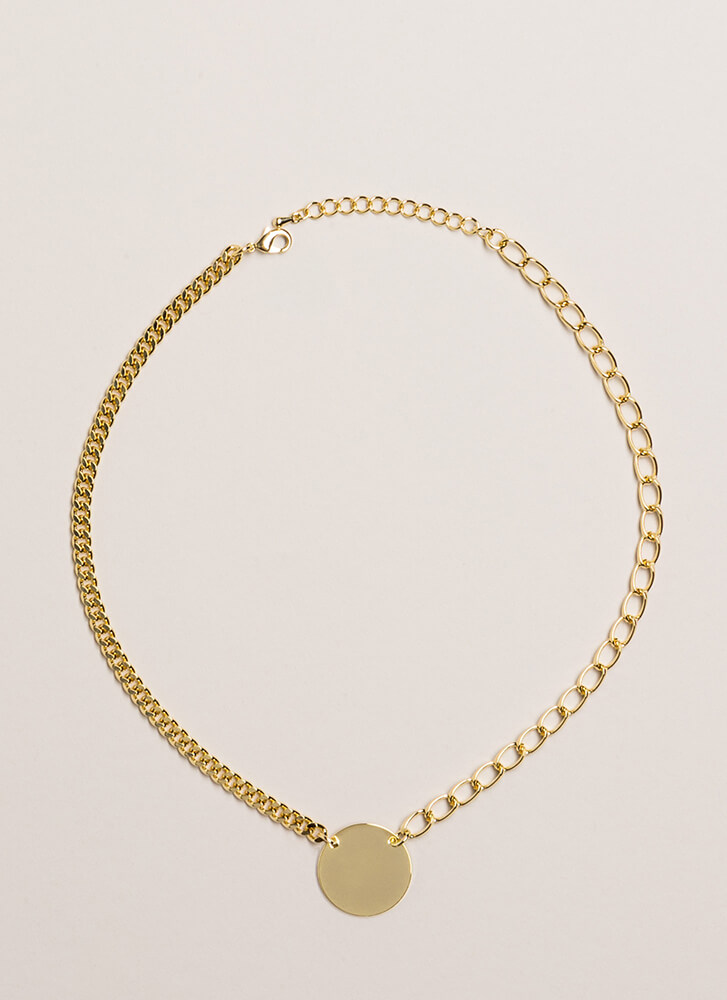 Both Sides Chained Disc Charm Necklace GOLD