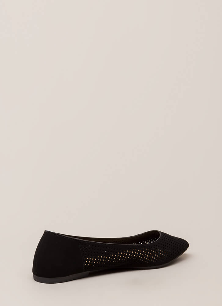 Fair And Square Netted Laser-Cut Flats BLACK