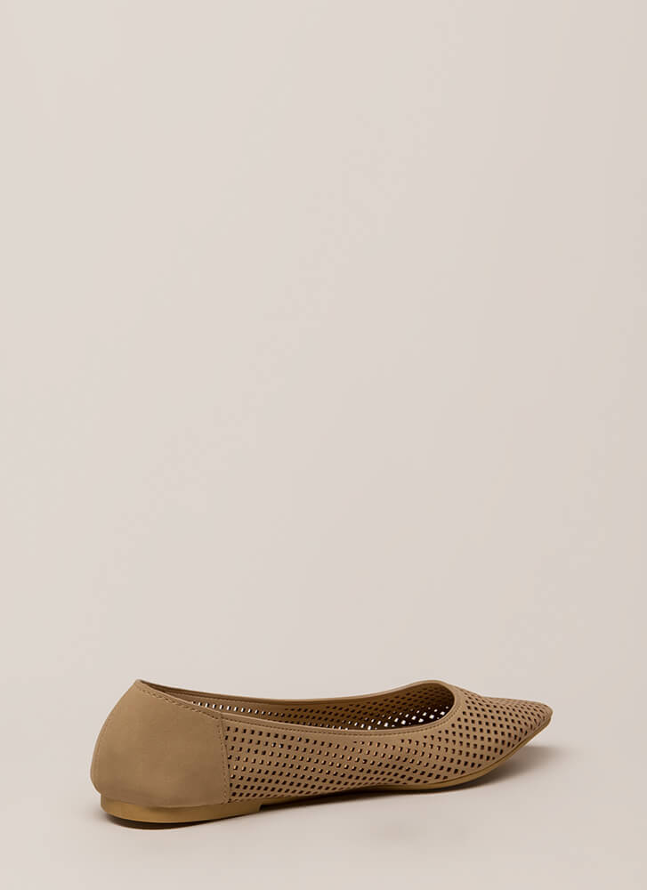 Fair And Square Netted Laser-Cut Flats NATURAL