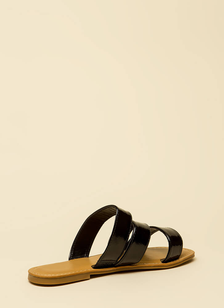 Wild And Three Faux Patent Sandals BLACK
