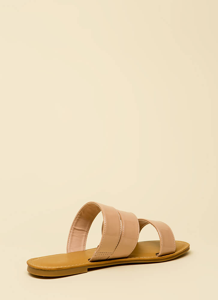 Wild And Three Faux Patent Sandals NUDE