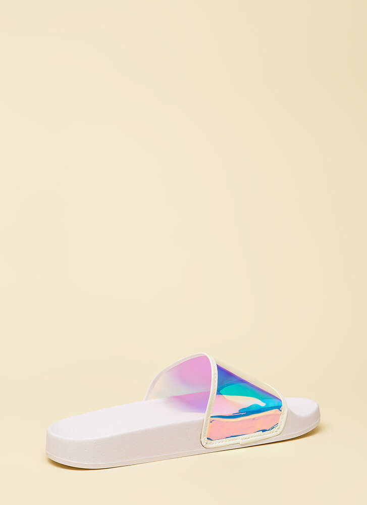 Clearly Cool Platform Slide Sandals WHITE