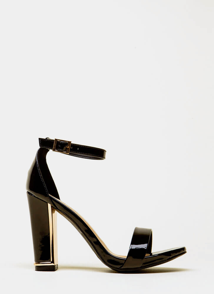 Shine A Little Strappy Faux Patent Heels BLACK
